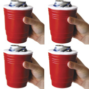 Red Cup Kool Koozie (Set of 4) - Keeps Icey Drinks Cold! Insulated Foam Can Holder