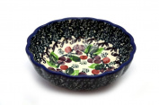 Polish Pottery Shallow Scalloped Small Bowl - Burgundy Berry Green