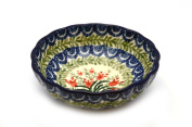 Polish Pottery Scalloped Bowl - Pattern is Crimson Bells
