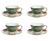 Gracie China Shabby Rose Porcelain 210ml Tea Cup and Saucer Set of 4, Shabby Rose Green