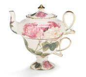 Elegant Romantic Rose Victorian Porcelain Teapot And Teacup Duo Beautiful Gift Item