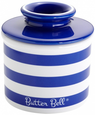 The Original Butter Bell crock Butter Crock by L. Tremain, Cobalt Blue Striped