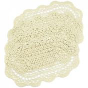 kilofly Crochet Cotton Lace Placemats Doilies 4pc, Oval, Beige, 18cm x 36cm