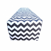Decorative Cotton in Black and White Chevron Print Table Runner. 30cm X 180cm