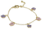 Molly Glitz Girls' 14K Gold-Plated Pink and Lavender Crystal Butterflies Charm Bracelet