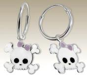 Children Silver Earrings, Skull with Bow White Hoop Earrings Skull Crossbones 925 Stering Silver