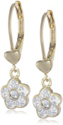 Molly Glitz Girls' 14K Gold-Plated Crystal Flower Earrings