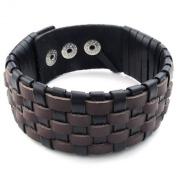 KONOV Jewellery Mens Leather Bracelet, Wide Cuff Bangle, Fit 20cm - 23cm , Brown Black