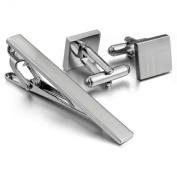 Men's Rhodium Plated Cufflinks & Necktie Tie Clip Bar Set Cufflinks
