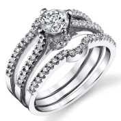 Sterling Silver Cubic Zirconia 0.75 Carat TW Round Cut Wedding Engagement Ring 3 Piece Set Band, Sizes 5 to 9