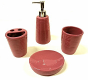 4pc Solid Ribbed Bathroom Ceramic Accessory Set Lotion Soap Dispenser, Tumbler, Toothbrush Holder & Soap Dish