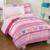 Butterfly Dots Ultra Soft Microfiber Comforter Bedding Set, Pink Multi