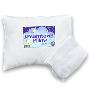Toddler Pillow by Dreamtown Kids WITH PILLOWCASE For Kids Or Travel- Hypoallergenic (Ages 2-5) Chiropractor recommended for perfect neck safety. 36cm x 48cm with medium fluff makes the best size & thickness for sleeping in bed, crib, floor, carseat & ..