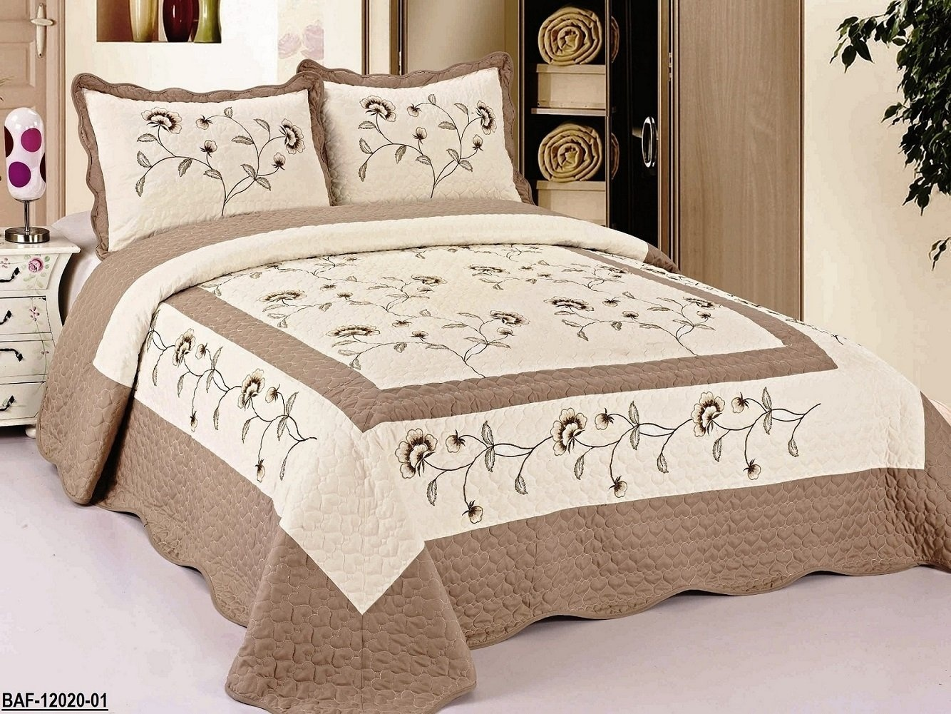 Beige-Taupe-3pcs-High-Quality-Fully-Quilted-Embroidery-Quilts-Bedspread