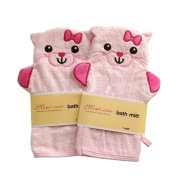 [Set of 2] Durable Soft Cute Baby/Kids Bath Sponge/Mitt/Gloves, PINK Cats