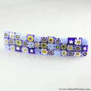 Murano Glass Millefiori Hair Clip - Blue Flowers