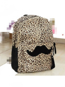 Generic Hot Travel Girl lady Moustache Canvas Leopard School Book Campus Bag Backpack