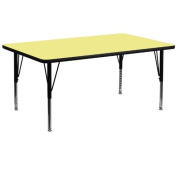 Flash Furniture XU-A3072-REC-YEL-T-P-GGRectangular Activity Table with Yellow Thermal Fused Laminate Top/Height Adjustable Pre-School Legs