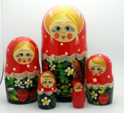 Nesting dolls Hand Painted 5 piece Set Russian Traditional with strawberry