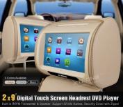 Xtrons 23cm CAR Headrest Pillow Hd Touchscreen Monitor DVD Player Beige Mp3 Hd908t