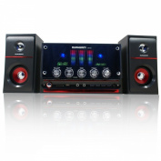 DR-S30 DURHERM 2.1 Channel Glass Surface LED Equaliser USB SD MP3 Audio Inputs Home Audio Woofer Speaker System w/ Wireless Remote