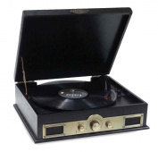 Pyle PTT30BK Bluetooth Vintage Classic Style Turntable Wireless Music Streaming, AM/FM Radio, USB Record Ability, AUX (3.5mm) Input