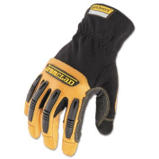 Ranchworx Leather Gloves, Black/Tan, Medium