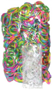 BlueDot Trading 1200-Piece Do-It-Yourself Bracelet Kit Refill Pack, Includes Rubber Band and S-Clips for Loom Art/Kids Craft with Rainbow, Tie Dye