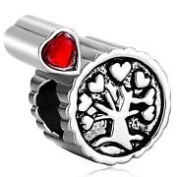 Charm Bead Heart Tree with Red Stone Pugster Charms Fits Pandora