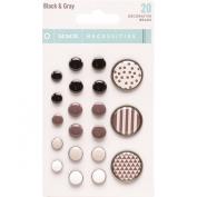 My Minds Eye Necessities Decorative Brads, Black and Grey