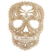 Rhinestone Iron on Transfer Hot Fix Motif Fashion Design Gold Skull Tattoos 1 Sheets 8.2*29cm