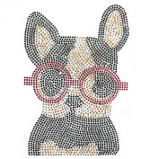Rhinestone Transfer Hot Fix Motif Fashion Design Red Glasses Puppy Decoration 1 Sheets 6.8*25cm