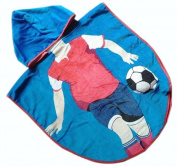 Lovely Cartoon Series Blue Football Boy Hooded Bath Towel