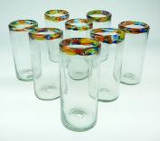 Mexican Glass Confetti Rim Tumblers 590ml,