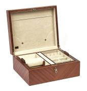 Bello Collezioni - Leonardo Men's/Women's Briar Wood Luxury Jewellery Box For Cufflinks, Watches & Rings. Made In Italy