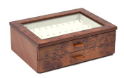 Bello Collezioni - Gianluca Luxury Briar Wood Case Cufflink and Jewellery Box For 24 Pairs. Made In Italy