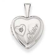 Sterling Silver & Diamond Sister Heart 12mm Heart Locket