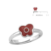 Girls Sterling Silver Simulated Birthstone Butterfly Ring adjustable size 3 To 7