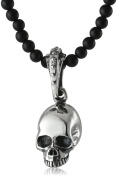 King Baby Hamlet Skull on Onyx Beaded Necklace