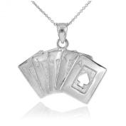 Solid 925 Sterling Silver Royal Flush of Spades Poker Pendant Necklace