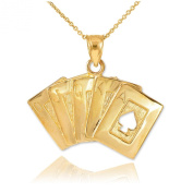 Solid 14k Yellow Gold Royal Flush of Spades Poker Pendant Necklace