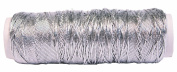 Thin Metallic Elastic Beading and Jewellery Making Cord - Big 50 Yard Roll - Silver