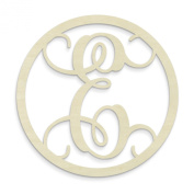 UNFINISHEDWOODCO Single Letter Circle Monogram-E, 48cm , Unfinished