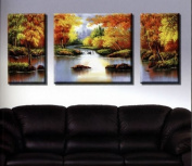 Santin Art-Hand Made Landscape Oil Painting Wall Art Decorations on Canvas Home Decor Stretched and Framed