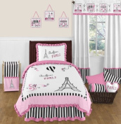 Pink, Black and White Stripe Paris 4 Piece Childrens and Kids Twin French Eiffel Tower Bedding Set Collection