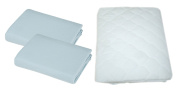 American Baby Company Supreme Jersey Cradle Sheet 2 Pack with Waterproof Cradle Mattress Pad, Blue