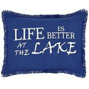 Burlap Blue Pillow Sham Life Is Better At The Lake 36cm x 46cm