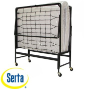 Serta 100cm Portable Rollaway Guest Office Spare Bedroom Adjustable Bed with Twin Mattress