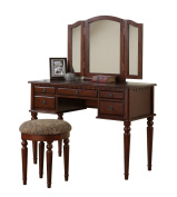 Bobkona F4071 St. Croix Collection Vanity Set with Stool, Cherry