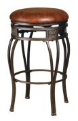 Hillsdale Montello 70cm Backless Swivel Counter Stool, Old Steel Finish with Brown Faux-Leather